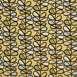 U0380A Yellow/ Green and Light Blue Vines Layered Microfiber Velvet on Cotton Upholstery Fabric by the Yard