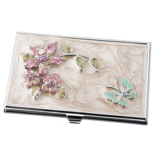Visol Meadow Flower and Butterfly Women's Business Card Case