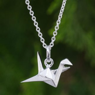 Handcrafted Sterling Silver 'Origami Bird' Necklace (Thailand)