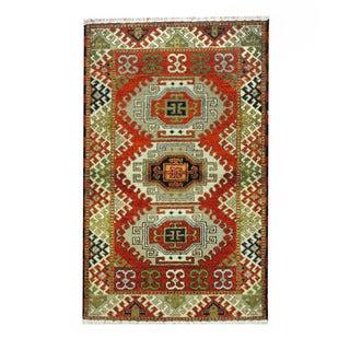 Herat Oriental Indo Hand-knotted Tribal Kazak Orange/ Ivory Wool Rug (3'2 x 5'1)