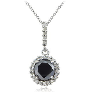 DB Designs Sterling Silver 1ct TDW Black and White Diamond Halo Necklace (I-J, I2-I3)