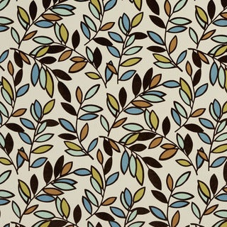 U0320A Black Teal Green and Brown Leaves Layered Microfiber Velvet on Cotton Upholstery Fabric by the Yard