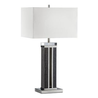 Attitude Brushed Nickel and Zebra-pattern Wood Modern Table Lamp