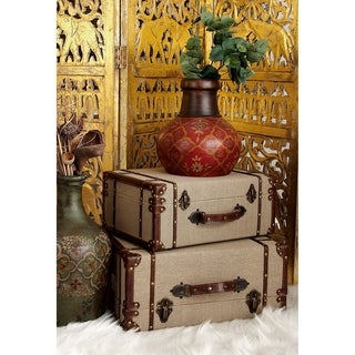 Wood/ Burlap Old Look Burlap Travel Suitcase Set