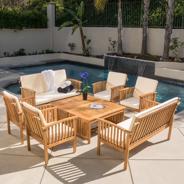 christopher knight home carolina 8 piece outdoor acacia sofa set with