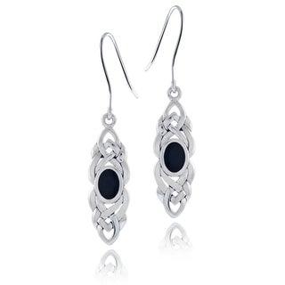 Glitzy Rocks Sterling Silver Onyx Celtic Weave Dangle Earrings