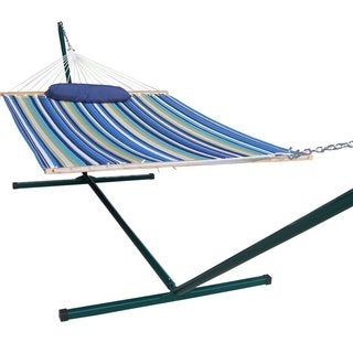 Prime Garden 15-foot Quilted Hammock and Pillow, Green Coated Steel Frame