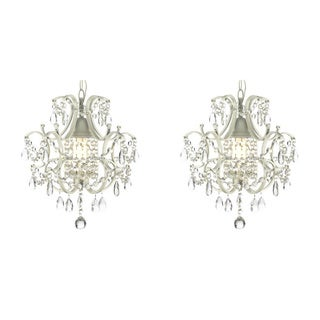 Wrought Iron and Crystal 1-Light White Chandelier Pendant (Set of 2)