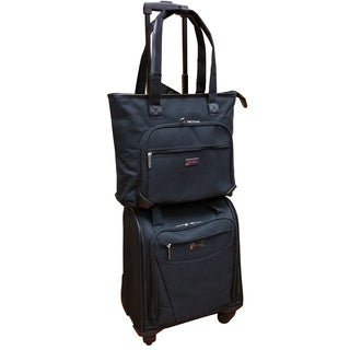 Chocolate New York Black 2-piece Carry On Underseat Upright Spinner / Laptop Tote Set