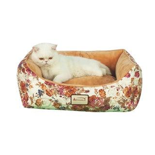 Faux Suede Floral Pet Bed