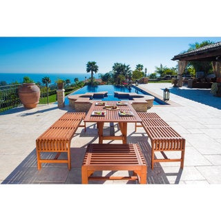 Vifah Malibu Eco-Friendly 5-Piece Wood Outdoor Dining Set with Backless Benches