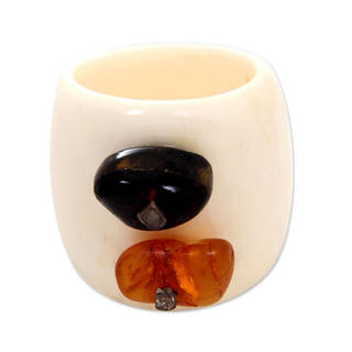 Handcrafted Bone 'Coral Island' Amber Ring (Indonesia)