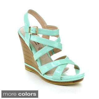 Kayleen DAYLA-2 Women's Ankle Strap Crossing Stacked Heel Wedges