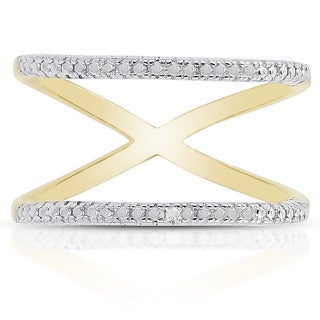 Finesque Gold Over Sterling Silver Diamond Accent Double Row Ring (I-J, I2-I3)