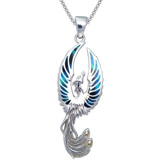 CGC Sterling Silver Flying Phoenix Fire Bird Paua Shell Wings Necklace