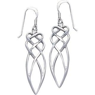 CGC Sterling Silver Elegant Celtic Knotwork Long Dangle Earrings