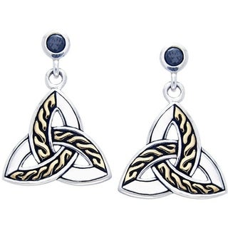 CGC Sterling Silver and Goldplated Celtic Trinity Knot Black Cubic Zirconia Post Dangle Earrings