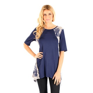 Women's Elbow Length Sleeve Blue Multi Color Top with Side Tail Missy Fit