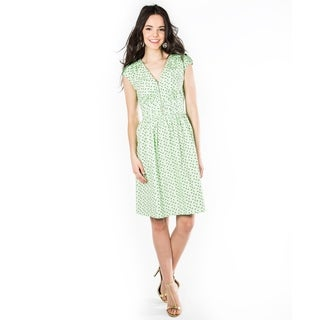 DownEast Basics Women's Green Printed Fit and Flare Zip Code Dress