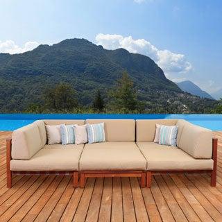 Amazonia Montgomery 6-piece Eucalyptus Sectional Set with Khaki Cushions by Jamie Durie