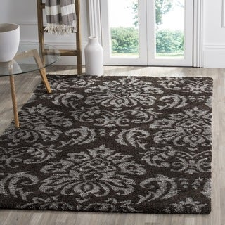 Safavieh Shag Dark Brown/ Smoke Rug (4' Square)