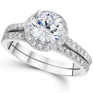 Bliss 14k White Gold 2 4/5ct TDW Clarity Enhanced Diamond Halo Engagement Wedding Ring Set (I-J, I2-I3)