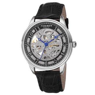 Akribos XXIV Men's Automatic Skeleton Dial Leather Strap Watch