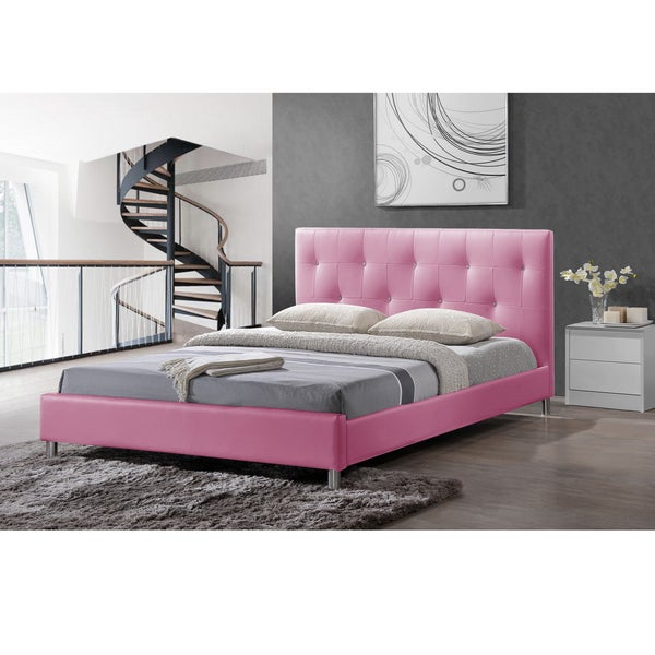 barbara pink modern full size bed with crystal button tufting overstock shopping great deals. Black Bedroom Furniture Sets. Home Design Ideas