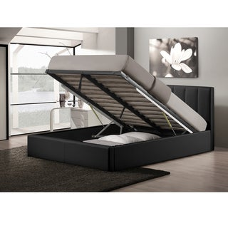 Templemore Black Leather Contemporary Queen-Size Bed