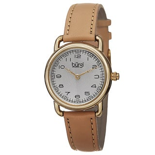 Burgi Women's Japanese Quartz Arabic Numeral Markers Leather Strap Watch