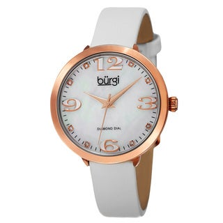 Burgi Classic Women's Japanese Quartz Diamond Markers Leather Strap Watch