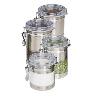 """""""Honey-Can-Do KCH-01310 Stainless Steel and Acrylic Canister Containers, 4-Pack"""