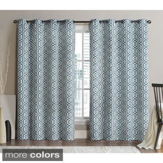 Victoria Classics Alexander Grommet Top 96-inch Blackout Printed Curtain Panel Pair