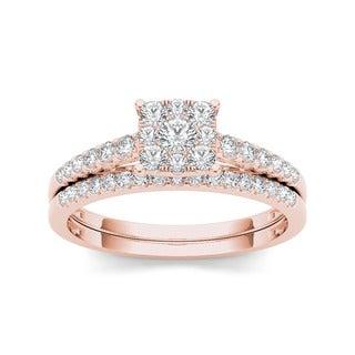 De Couer 10k Rose Gold 1/2ct TDW Diamond Cluster Engagement Ring Set (H-I, I2)