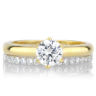 Goldtone Sterling Silver Cubic Zirconia Petite Wedding Ring Set