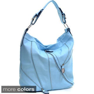 Dasein Silver-Tone Zipper Front Hobo Bag with Buckle Shoulder Strap