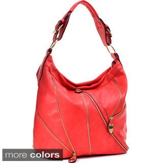 Dasein Gold-Tone Zipper Front Hobo Bag with Buckle Shoulder Strap