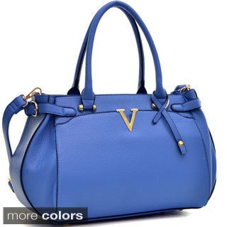Dasein Faux Leather V Shape Accent Satchel with Shoulder Strap