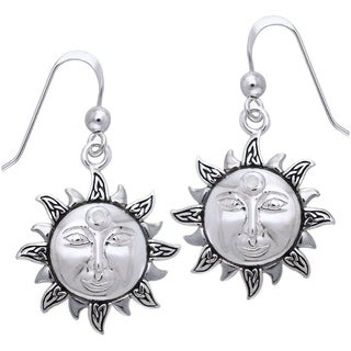 CGC Sterling Silver with Rainbow Moonstone Celtic Knot Celestial Sun Dangle Earrings