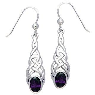CGC Sterling Silver Elegant Celtic Knotwork Linear Dangle Earrings with Gemstone