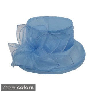 Women's Organza Fabric Packable Hat Turquoise/ Silver