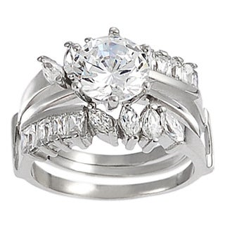 Journee Collection Sterling Silver Round-cut CZ with Marquis-cut Gemstones Bridal & Engagement Ring S