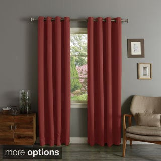 Brick Red Grommet Top Thermal Insulated Blackout Curtain Panel Pair