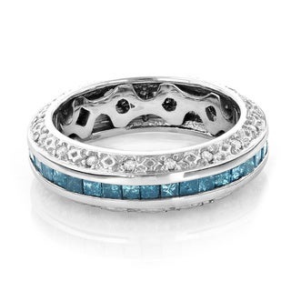 Luxurman 14k Gold 2 4/5ct TDW Blue and White Diamond Eternity Wedding Band (H-I, SI1-Si2)