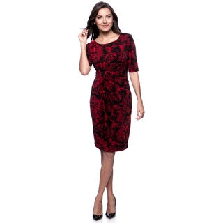 Connected Apparel Red Damask Print 3/4 Sleeve Dress