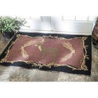 nuLOOM Handmade Modern Deer Welcome Pink/ Black Doormat (3' x 6')
