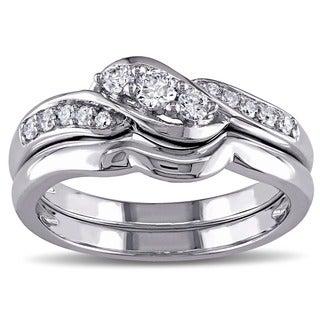 Miadora 10k White Gold 1/4ct TDW Diamond 3-stone Bridal Ring Set (G-H, I1-I2)