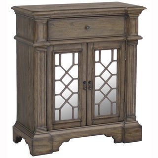 Hand Painted Distressed Washed Oak Finish Mirrored Accent Chest