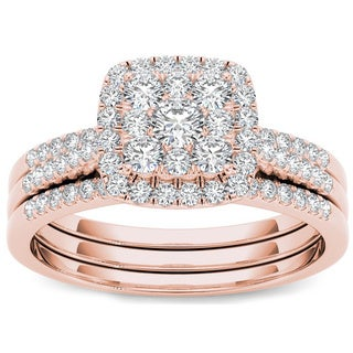 De Couer 10K Rose Gold 1/2 TDW Cushion Imperial Diamond Bridal Set (H-I, I2)