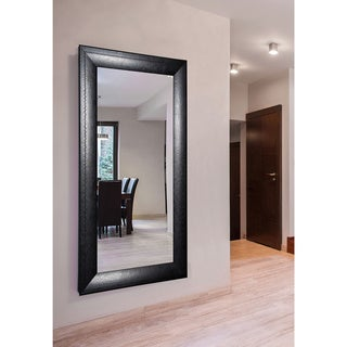 American Made Rayne Stitched Black Leather Double Vanity Wall Mirror